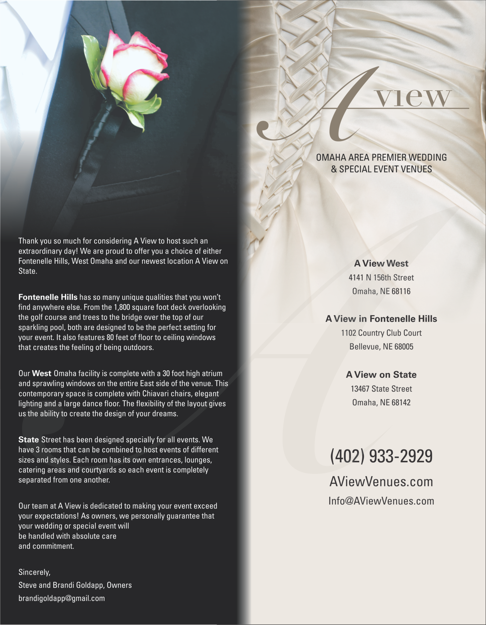 A View Wedding Brochure
